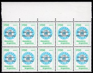 Argentina 1982 Sc#1338 Claim on Falkland Fluorescent Paper Block of 10 MNH