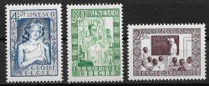 1951 Belgium B492-4 Unesco MLH C/S of 3 SCV$23.40