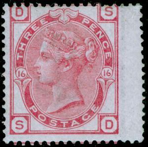 SG144, 3d pale rose plate 16, M MINT. Cat £450. SD