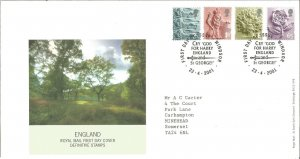 England Royal Mail FDC Definitive Stamps 2001 1st, 2nd, E & 65p Windsor PM Z9341
