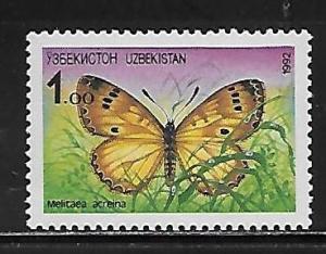 Uzbekistan 2 Butterfly single MNH