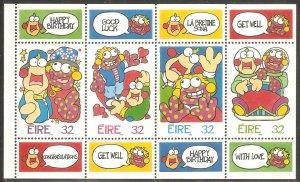 IRELAND Sc# 995b MNH FVF Booklet Pane Greetings Cartoons