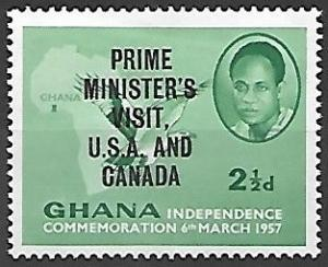 Ghana 1958 Independence, Visit Overprint, 2-1/2p, mlh, Scott #29