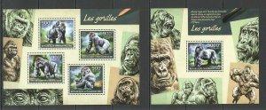 QF199 2014 CENTRAL AFRICA FAUNA ANIMALS GORILLAS LES GORILLES KB+BL MNH