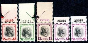 US Scott 832,832b,832c,833,834 MNH OG w/Plate Numbers.  Complete set.