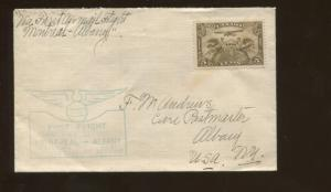 1928 Montreal Canada to Albany New York First Flight Air Mail Cover #C1