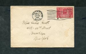 Postal History - Detroit MI 1916 Black UNI-BT3R202 2c Parcel Post Cover B0699