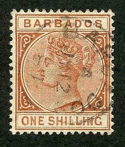 Barbados SG102 1/- Chestnut Fine used Cat 21 pounds
