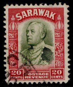 SARAWAK GV SG116, 20c olive-green & carmine, FINE USED.