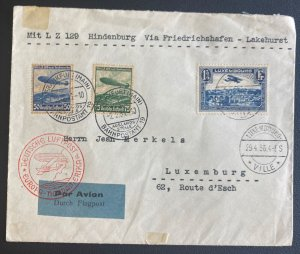 1936 Luxembourg Hindenburg Zeppelin LZ 129 Flight Airmail cover To Usa