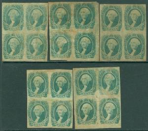 EDW1949SELL : USA CONFEDERATES 1863 Scott #13 Mint No Gum Blocks Cat $1,000.00.