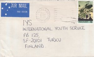 BD32) Air mail cover to Finland bearing: $1 The ANZAC Tradition, Price $6
