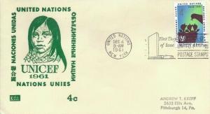 UN #98 4c UNICEF 1961 - Kolor Kover