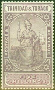 Trinidad & Tobago 1914 5s Dull Purple & Mauve SG155 Fine Lightly Mtd Mint (2)