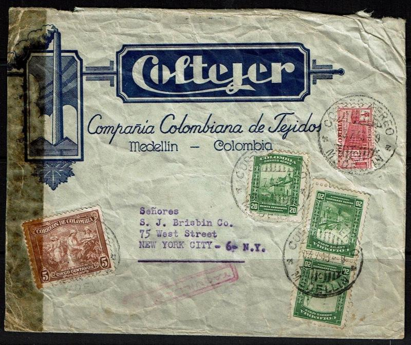 Colombia - 1943 Censored Airmail Advertising Cover - Lot 090417