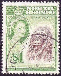 NORTH BORNEO 1961 $1 Brown & Yellow-Green SG403 FU