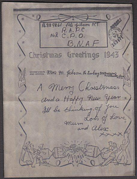 GB 1943 Illustrated Christmas airgraph from solder in North Africa.........55076