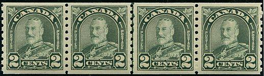 Canada - 1930 2c Green KGV Arch Line Strip of 4 #180i