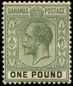 Bahamas SC# 84 SG# 125 George V wmk 4  perf 14 1£  MLH toned gum