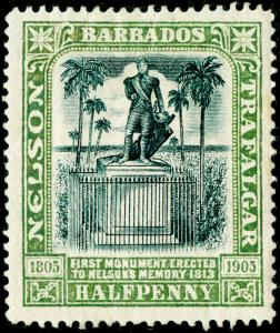 BARBADOS SG146, ½d black & pale green, M MINT. Cat £11.