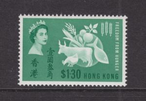 Hong Kong Sc 218 MLH. 1963 $1.30 Freedom From Hunger
