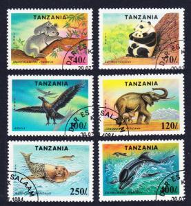 Tanzania Birds Protected Fauna 6v CTO SG#1807-1812 SC#1287-1292 MI#1775-1779