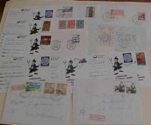 FAROE  6 COVERS & 6 CARDS 1968-1997 & 2 REGISTERED 1992,1993 TO DENMARK