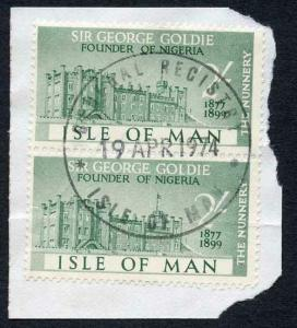 Isle of Man 2/- Green Pair QEII Pictorial Revenues CDS On Piece
