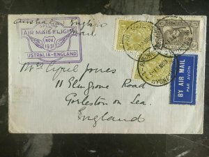 1931 Sydney Australia to England FFC First Flight Cover