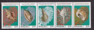 Palau # 301, Sea Shells, Strip of 5 Different,  NH, 1/2 Cat.