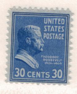 United States Scott #830, Mint Light Hinge Marks MLH, 30 Cent Roosevelt Portr...