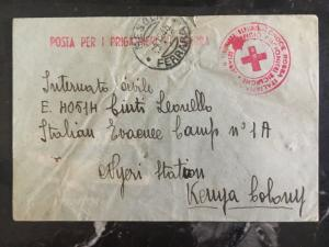 1945 Altesola Italy Cover to Kenya KUT POW Camp # 1A Prisoner of War Red Cross