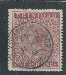 TRINIDAD 1869 5s ROSE-LAKE FU SG 87 CAT £75