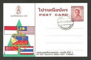 1979 Scouts Thailand 3rd Malaysia Jamboree postcard FDC