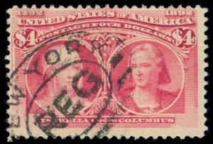 MOMEN: US STAMPS #244 USED $4 COLUMBIAN