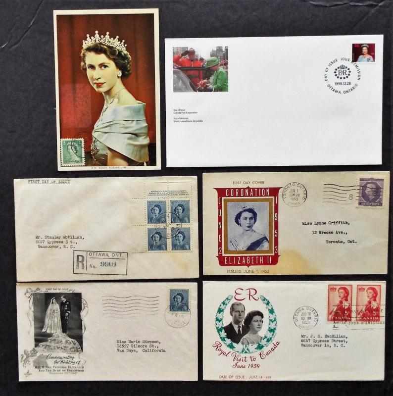6 CANADA Queen Elizabeth II FDC and Commemorative Covers