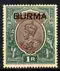 Burma 1937 KG5 Overprinted 1r mounted but light foxing on...