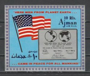 Ajman, Mi cat. 465, BL148. First Manned Landing on the Moon s/sheet. ^