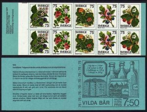 Sweden 1215-1219a booklet,MNH.Michel 994-998 MH62. Wild Berries,1977.