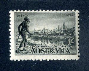 Australia 1934 1s black Mint Hinged. P10.5. SG149.