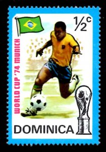 Dominica ½c World Cup Football Sports Flag 1974 Scott.395