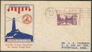 US #750 3¢ Mt. Rainier Souvenir Sheet FDC Ed Kee cachet