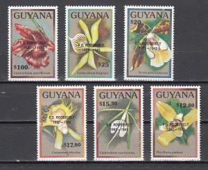 Guyana, Scott cat. 2361-2366. Orchid values o/printed F. D. Roosevelt..