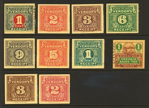 USA Ohio range of Vendors Receipt revenue issues to include Columbus Mint Stamps