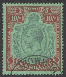 Bermuda 1930 10s Green&Red on emer Wmk Script SG 92g Scott 96a VFU Cat £275($357