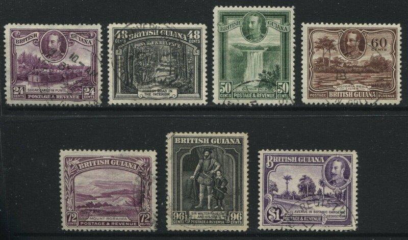 British Guiana KGV 1934 24 cents to $1 used