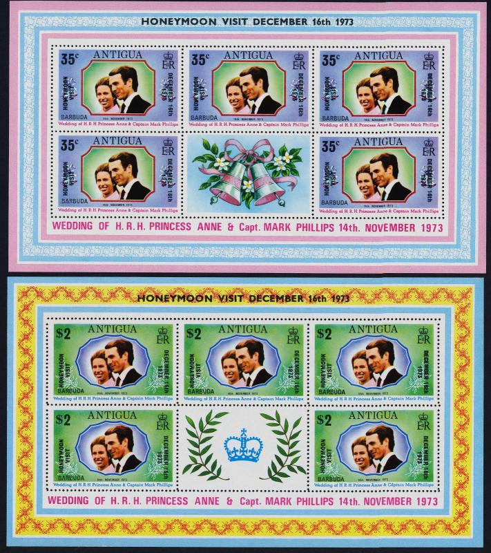 Barbuda 136-7 sheets MNH Princess Anne, Mark Phillips Honeymoon Visit o/p