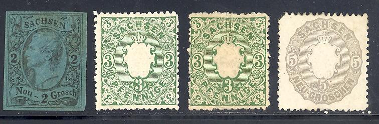 Saxony #11, 15,15a,20c  Mint LH