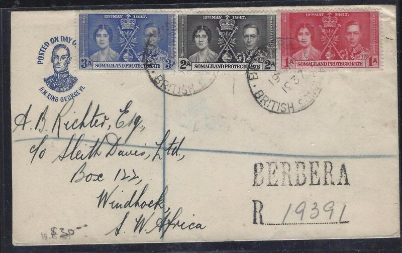 SOMALILAND COVER (PP0312B)   KGVI  CORONATION SET REG BERBERA TO SW AFRICA