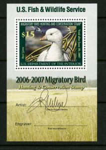 US Stamps # RW73b $15 Duck XF OG NH W/Artist Signature Scott Value $180.00